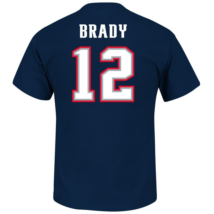 Men's Tom Brady New England Patriots Majestic Navy Blue Eligible Receiver III Name and Number T-Shirt