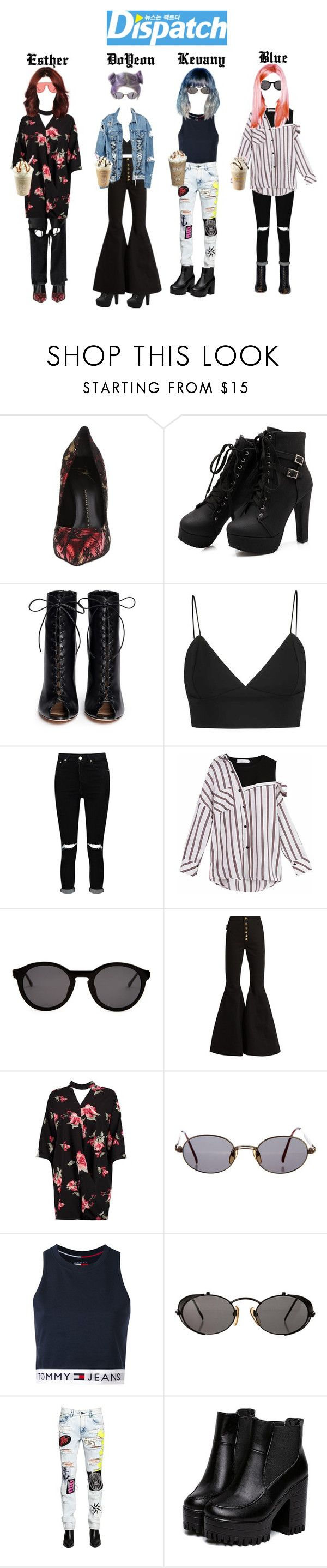 """DISPATCH:DLXX Member spotted at McDonald"" by officialdlxx ❤ liked on Polyvore featuring Giuseppe Zanotti, Gianvito Rossi, Boohoo, Thierry Lasry, E L L E R Y, Unravel, Jean-Paul Gaultier, Tommy Hilfiger and Filles à papa"