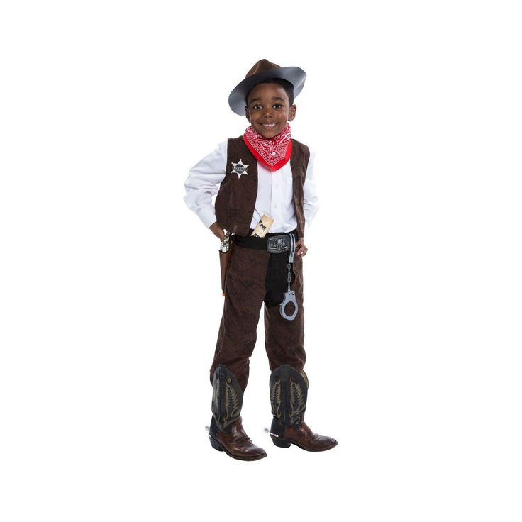 Halloween Boys' Deluxe Cowboy Costume Kit Small 4-6, Size: S(4-6), Brown