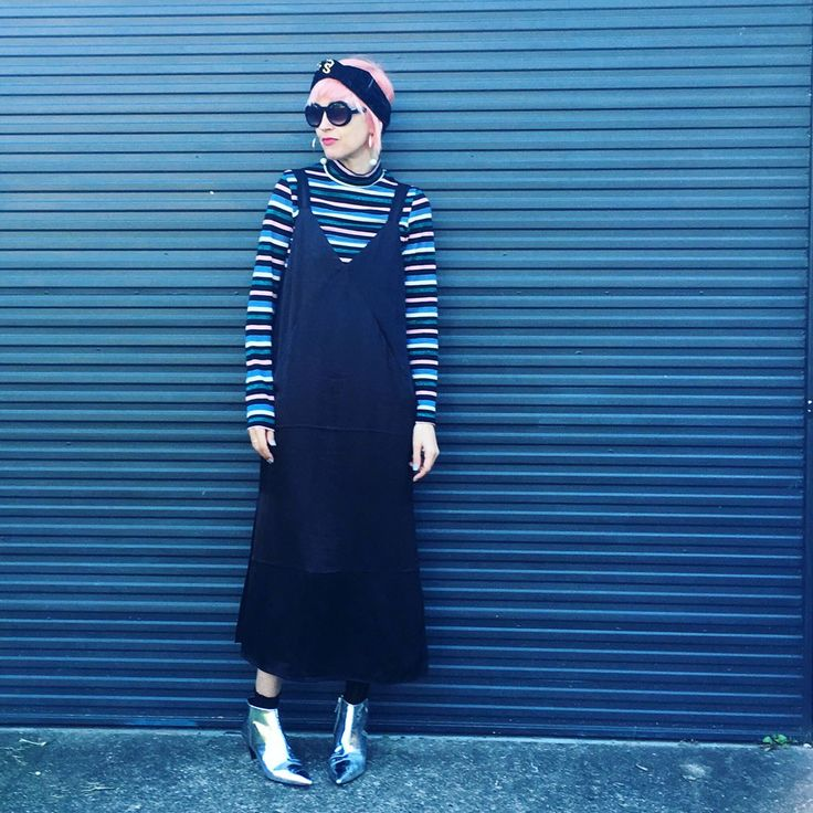 TURBAN TALES •  today's (and yesterday's ) #spotmystyle #realstreetstyle has been all about this 70s disco lurex metallic stripe turtle neck #90s grunge satin pinafore dress and futuristic boots and velvet turban wrap with an Isadora Duncan 1920s Paris  inspired variation today with a vintage #70s turquoise sleeveless maxi vest and yes I do #schoolrun #schooldropoff like this plus added bonus my dag #carkaraoke or rather #carlipsync as I cannae sing for toffee 😂 of the incredibly fun…