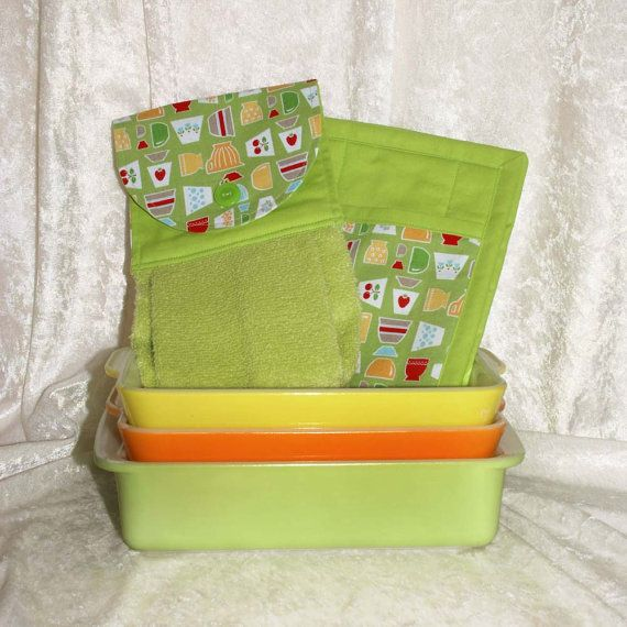 Something to match my Pyrex. Handmade Pocket Pot Holder and Hanging Towel in 100% Cotton Designer Fabrics by GreenAcornKitchen
