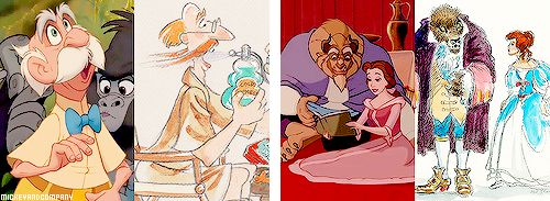 Disney character transformations from concept art to final frame (adapted from Oh My Disney)