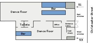 A color digital illustration of the station layout of the Stonewall Inn in 1969: a rectangular building with the front along Christopher Street; the entrance opens to a lobby where patrons could go to the larger part of the bar to the right that also featured a larger dance floor. From that room was an entrance to a smaller room with a smaller dance floor and smaller bar. The toilets are located near the rear of the building