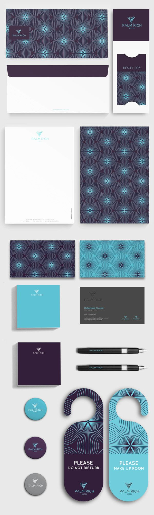 flower looking abstract design with blue colors. Palm Rich Hotel by nero-design