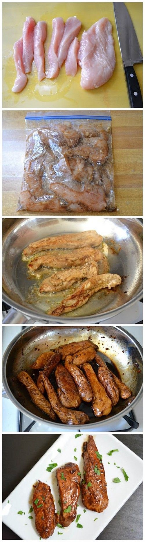 Honey balsamic chicken tenders. This chicken is bursting with flavor from the tangy balsamic vinegar, sweet honey, and rich butter. So Good!