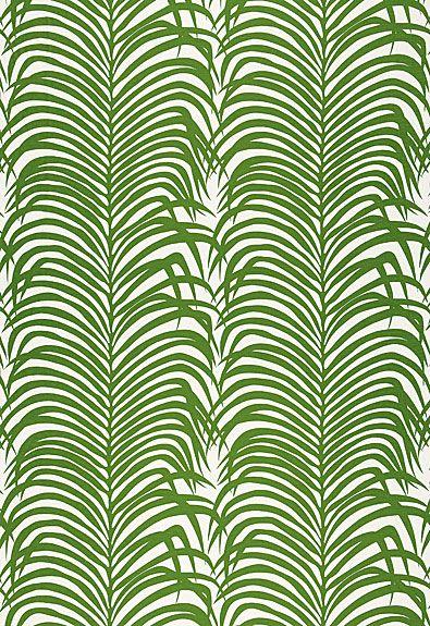 Schumacher Zebra Palm Linen Print.