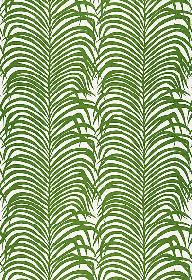 A good palm print reminds us of home in Venice, CA. Schumacher