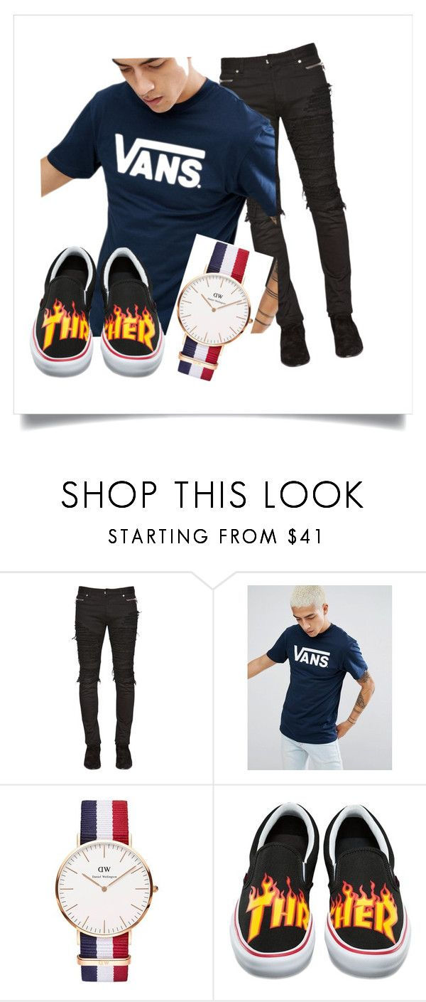 """""""Vans/Thrasher Bro Guy's Outfit"""" by clee-266 ❤ liked on Polyvore featuring Balmain, Vans, Daniel Wellington, men's fashion, menswear, denim, vans and thrasher"""