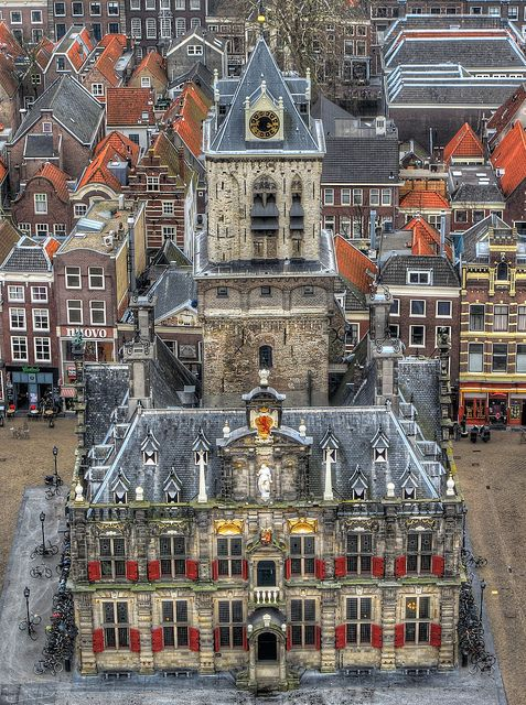 View from the top of New Kerk ~ Town Hall . Delft, Netherlands