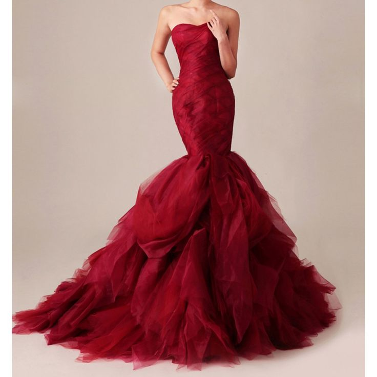 Gossip Girl Inspired Dramatic Red Mermaid Gown.  This is one of the most gorgeous dresses I've ever seen. I would even consider wearing red in my wedding to have this dress.