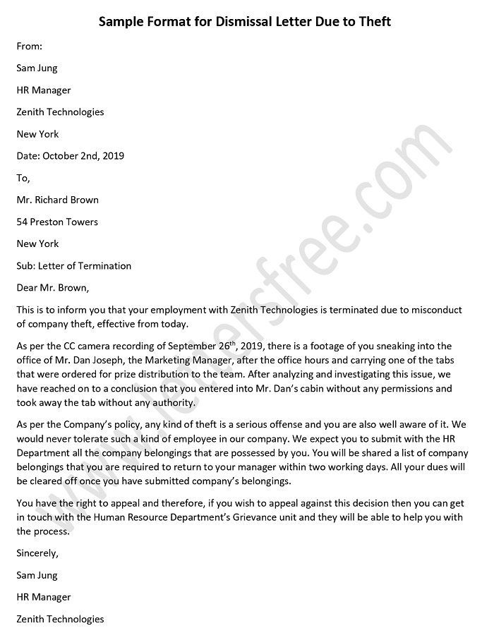 Dismissal Letter Due To Theft Employee Termination Letter