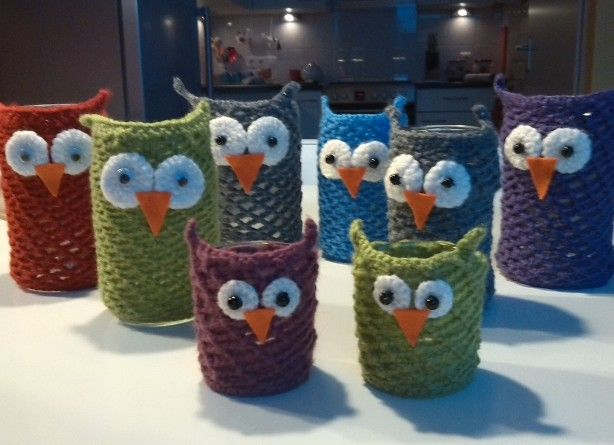 uilen theelichtjes ♪ ♪ ... #inspiration_crochet #diy GB http://www.pinterest.com/gigibrazil/boards/