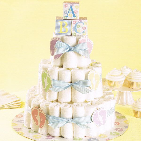 Give the gift every mother will appreciate. Create this fun alternative to a traditional cake with baby diapers. Everything but the diapers is included. This diaper cake kit is a fun and creative the