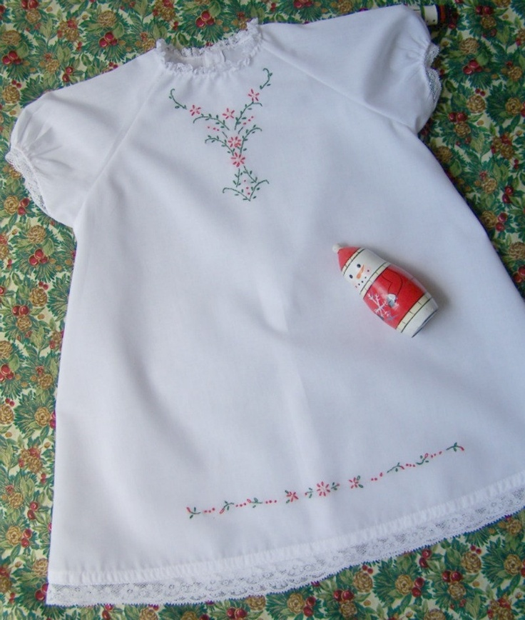 Hand Embroidered Baby Christmas Dress size by fairychildheirlooms