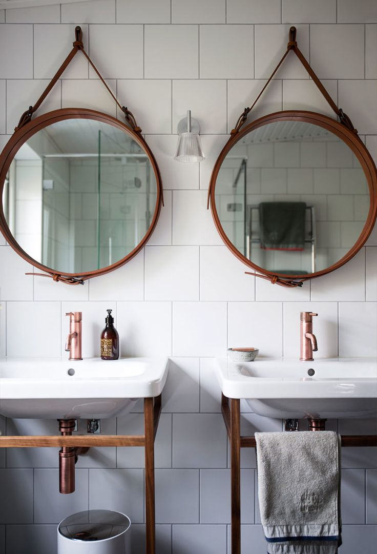 Bathroom Double Washbasin With Wooden Stand Round Mirrors