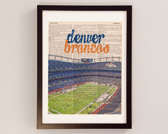 A vintage Denver Broncos print of Sports Authority Field at Mile High with the team name above the stadium skyline. #gifts #broncos #denver