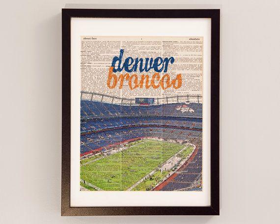Denver Broncos Dictionary Art Print  Mile High by DictionArt