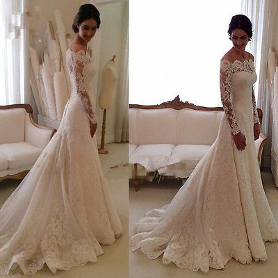 Elegant Lace Wedding Dresses White Ivory Off The Shoulder Garden Bride Gown 2015 | eBay