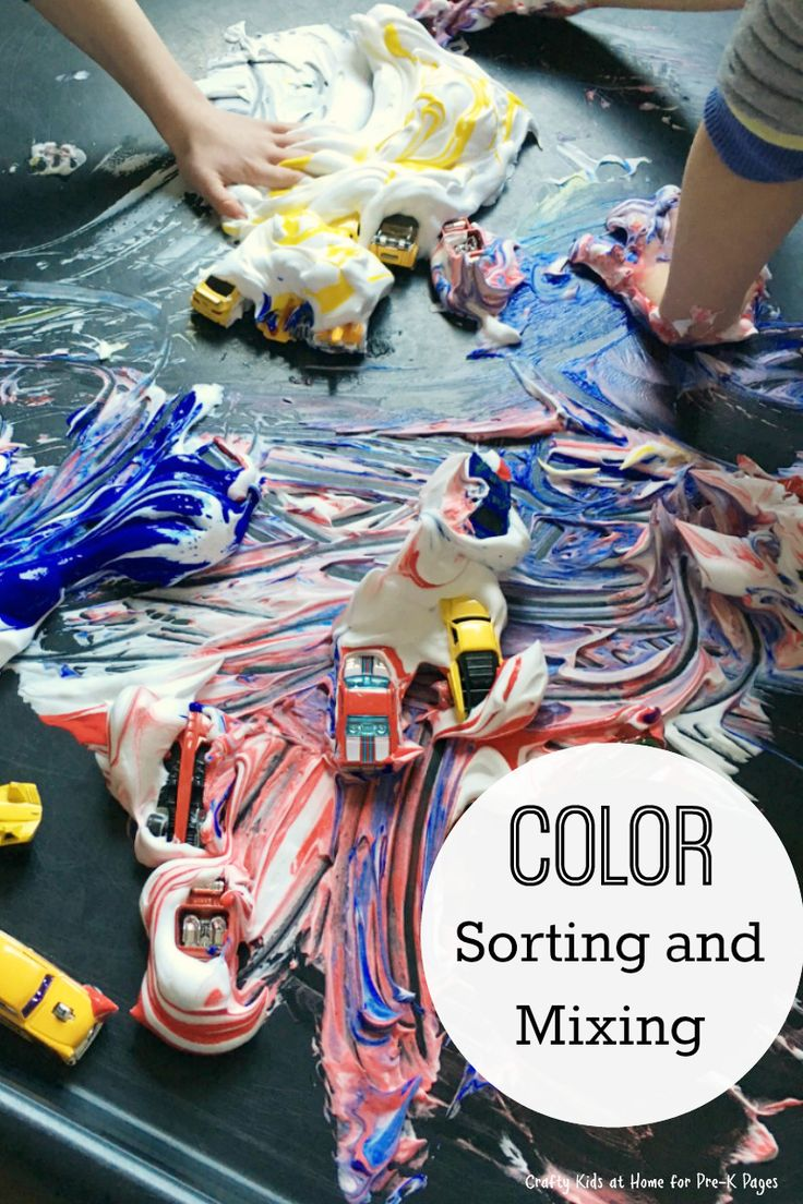 Color sorting and mixing for a transportation theme in preschool