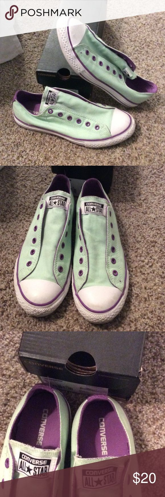 Converse slip on mint and purple Worn a few times. Great condition Shoes Sneakers