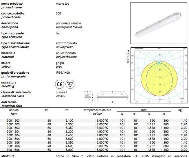 ANLIGHT 3001.604 MARIO LED PLAFONIERA STAGNA LED 60 WATT 4000K IP 66 immagini