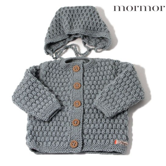 mormor.nu Jacket with bonnet. Offwhite gray brown greish green. High quality knitwear for children. Danish design made in Denmark #babyclothing #kidsclothing #warmclothes #softknit #highlandwool
