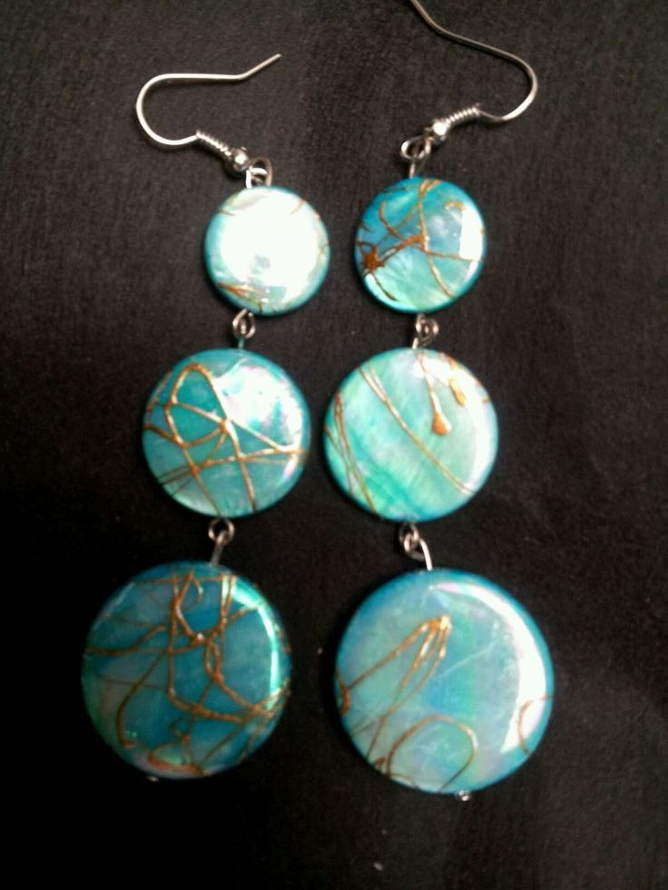 Natural Shining Sea Shells Turquoise Blue Dangle Chandelier Earrings  Jewelry