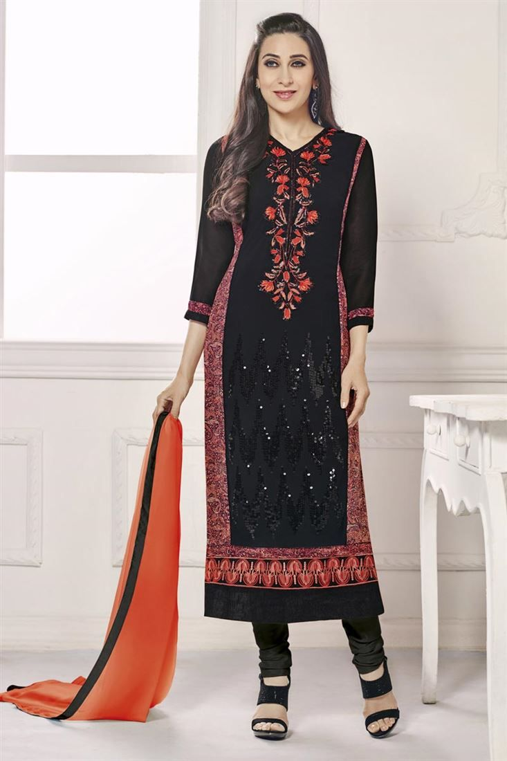 Online Shopping of Karisma Kapoor Black Party Wear Salwar Kameez-3000 from SareesBazaar, leading online ethnic clothing store offering latest collection of sarees, salwar suits, lehengas & kurtis
