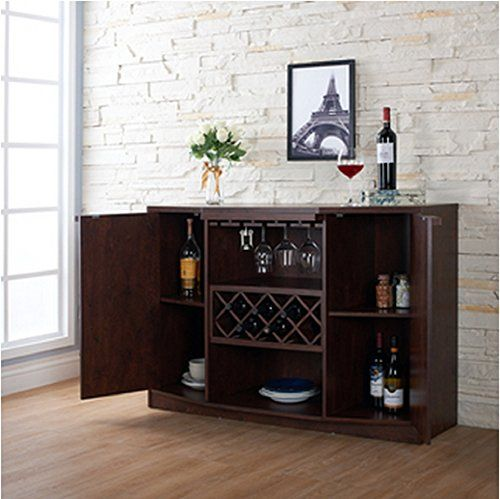 Wine Bar Buffet And Storage Cabinet With Center Glass And