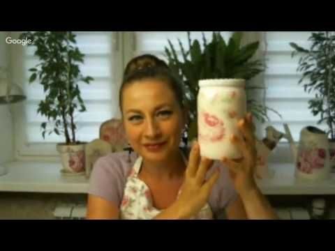 Анна Мильто Декупаж стеклянной банки - YouTube