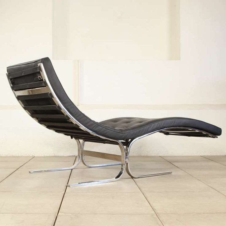 1980s Chaise Longue in Steel u0026 Italian Leather van der Rohe Style : italian chaise - Sectionals, Sofas & Couches