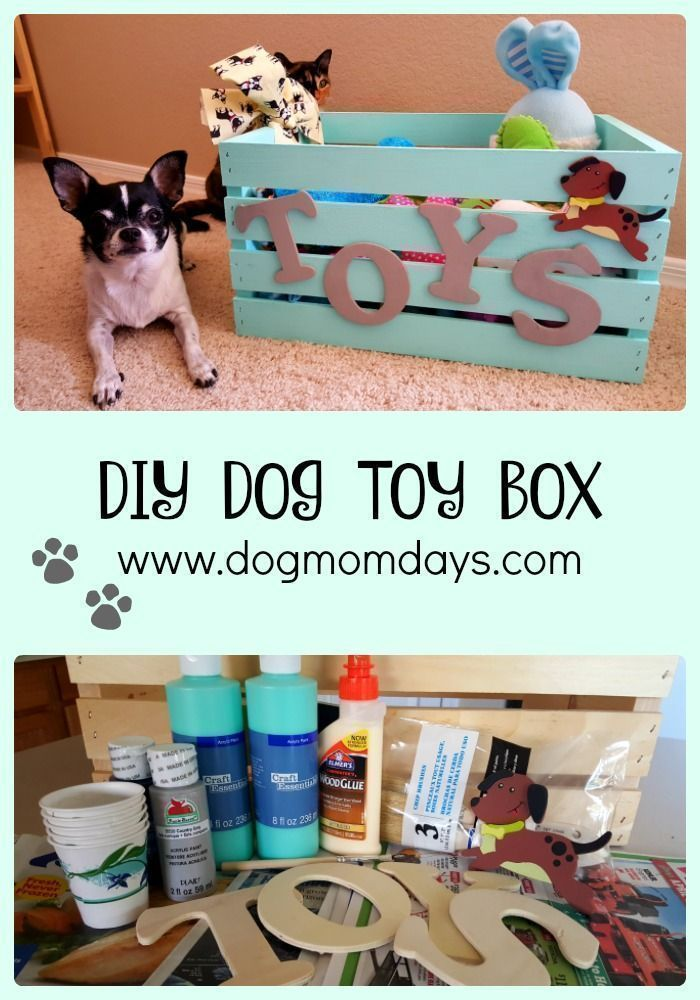 A super cute DIY dog toy box for all of your pup's toys! Be sure to read the post and find out where I got all of my materials! You can also see more DIY dog mom projects and homemade dog treat recipes on my blog. Dog Toys | DIY | DIY Dog Crafts | Dog DIY Projects #dogsdiytreats #dogdiyprojects