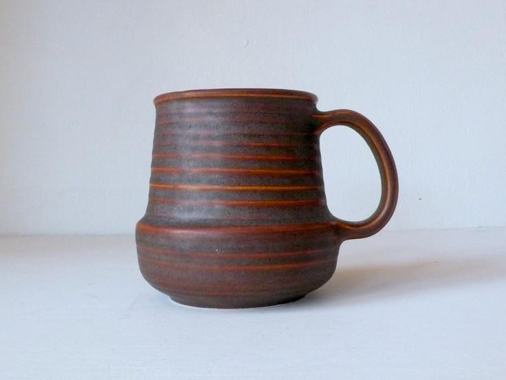 Vintage Arabia Finland Beehive Stripe Ceramic Mid Century Mug.