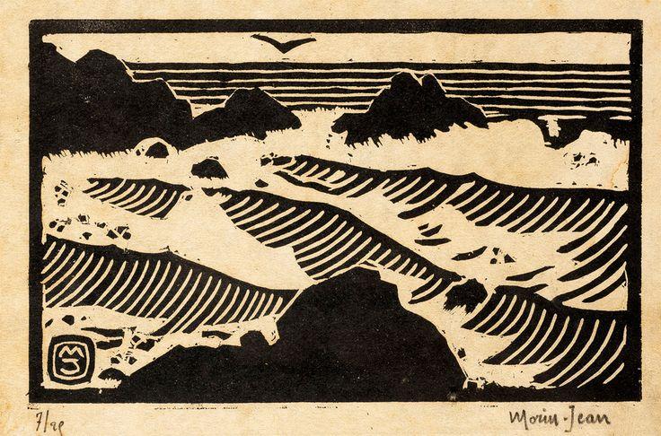 les Vagues - bois gravé vers 1920 - Morin-Jean (Jean-Alexis Joseph Morin, dit) (1877-1940, France)