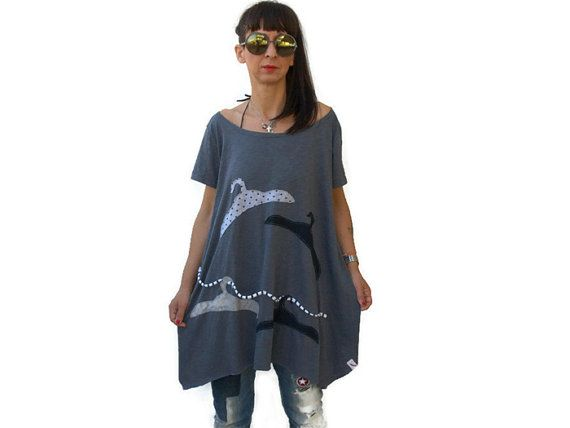 Gray loose women tunic / summer assymetric tunic by PepperFashion