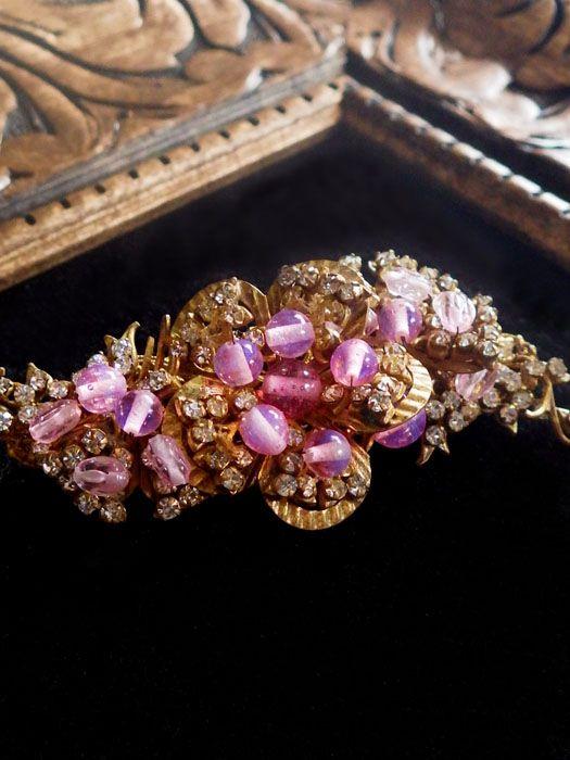 ピンクのお花のヴィンテージブローチ MIRIAM HASKELL(ミリアムハスケル)