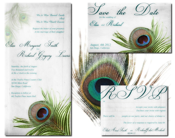 Peacock Wedding Invitation Rsvp And Save The Date Suite