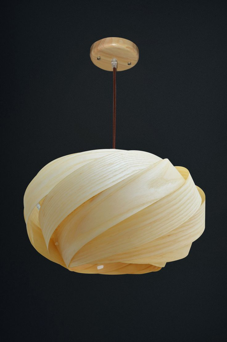 Living Room Winsome Wood Veneer Lampshade Ash Pendant Light Handmade Item  Natural Coloring Circle Shape Copper