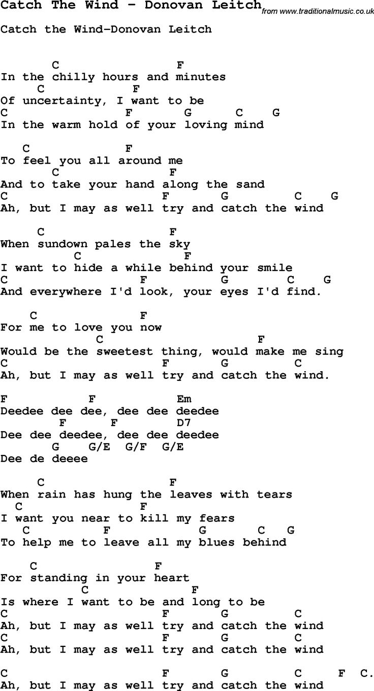 210 best chords images on pinterest music guitar players and song catch the wind by donovan leitch song lyric for vocal performance plus accompaniment chords for ukulele guitar banjo etc hexwebz Choice Image
