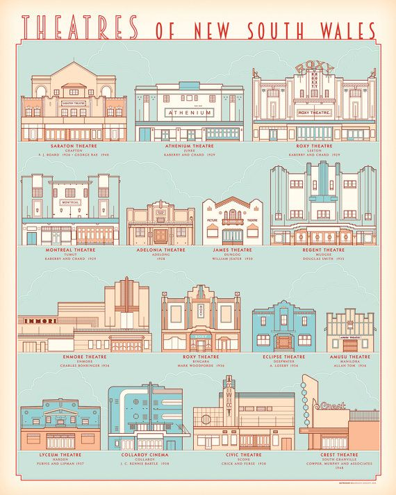Theatres of New South Wales retro illustrated by BarockyChocky