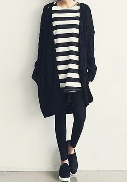 Black Cable Knit Cardigan