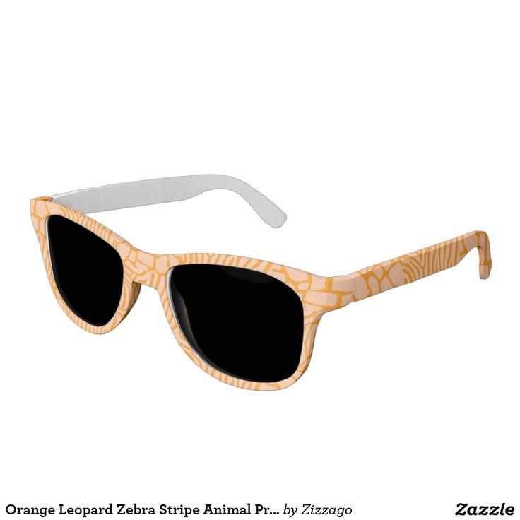 Orange Leopard Zebra Stripe Animal Print Sunglasses