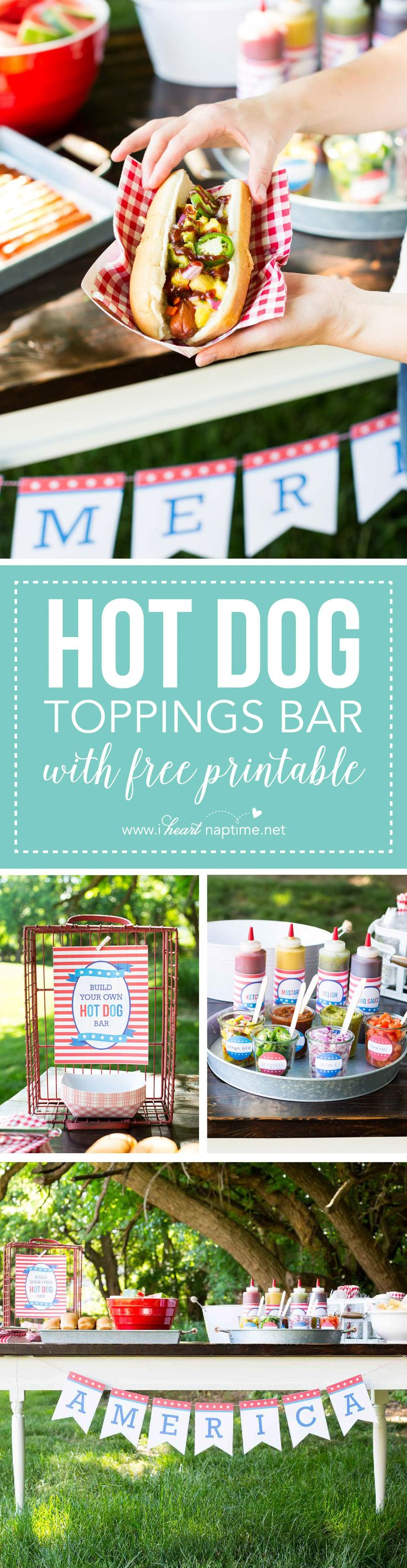 Hot Dog Toppings Bar for the 4th of July (free printables available) ...the perfect way to celebrate with friends and family.