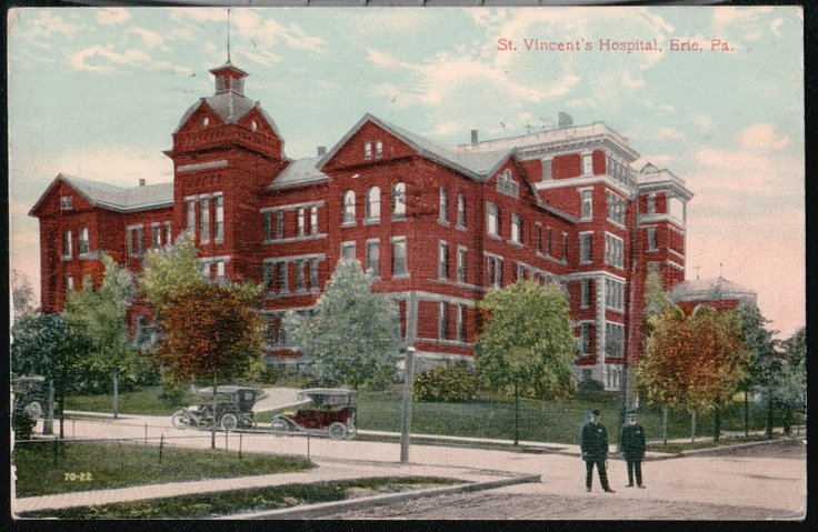 Erie pa st vincents hospital antique 1916 postcard erie