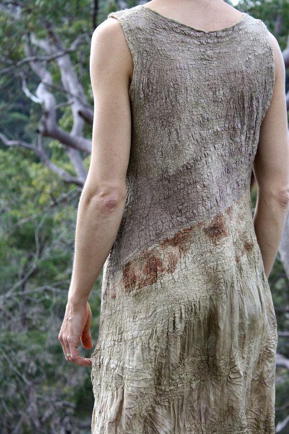 Olive reversible silk nuno dress by GinaMastio on Etsy, $690.00