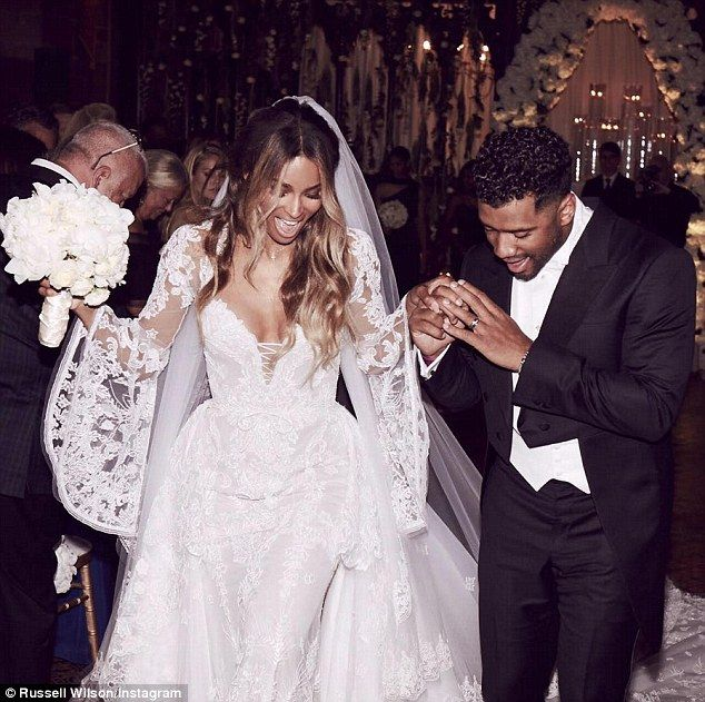 Fit for a pop princess! Ciara and Seattle Seahawks quarterback Russell Wilson married on Wednesday in a fairy tale castle in the heart of Cheshire, UK, and the bride looked stunning in a custom Roberto Cavalli gown