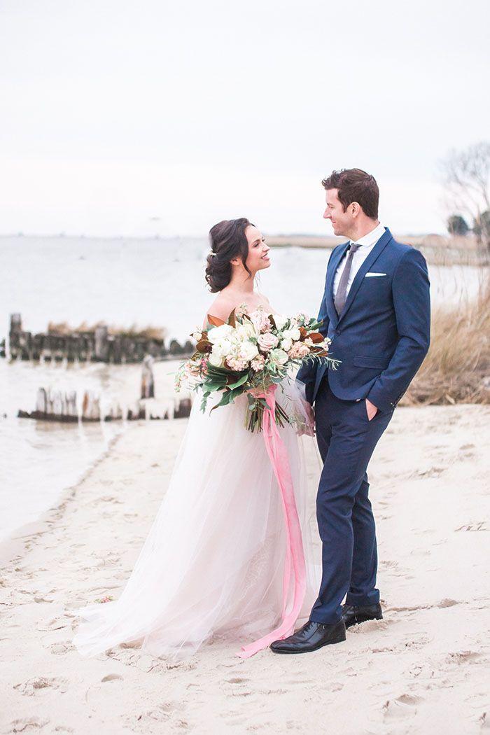 Dreamy Seaside Wedding in Classic Coastal Shades - Hey Wedding Lady
