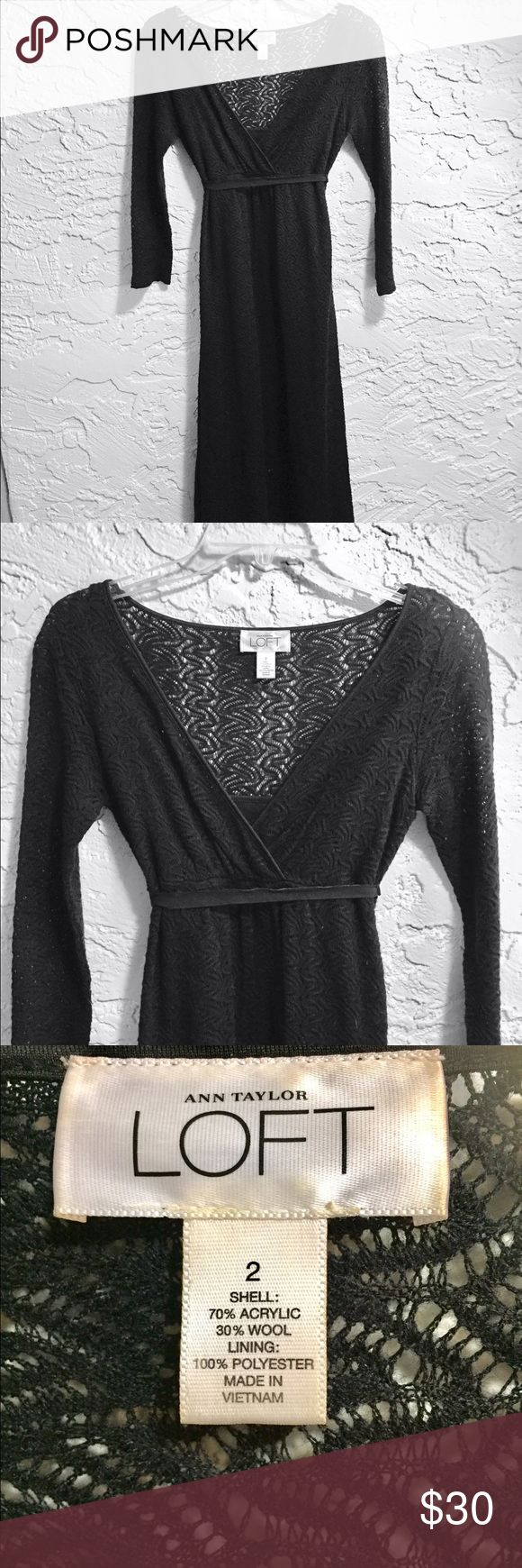Anne Taylor Loft Crochet Dress with 3/4 Sleeves V-necked Crochet dress with 3/4 length sleeves. Looks amazing with a pair of pumps and a push-up bra or a pair of ballet slippers. Comes with a velvet ribbon belt. Banana Republic Dresses Midi