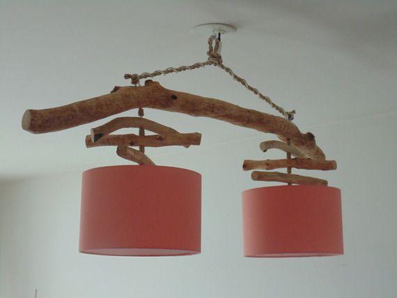 Lustre/plafonnier en bois flotté - corail scandinave 28 cm - création unique - double suspension - Led