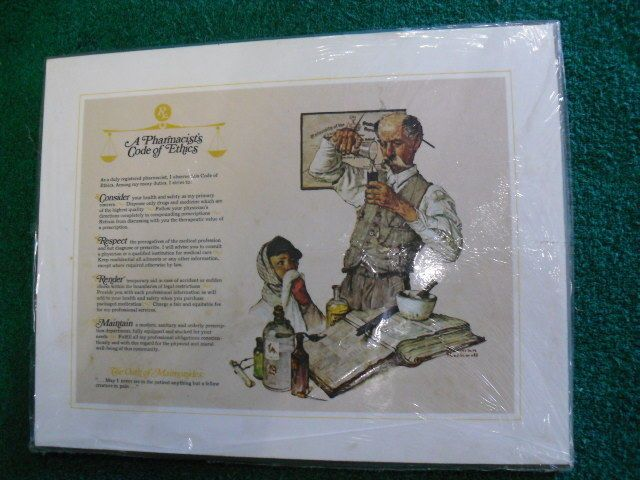 Rare Norman Rockwell, A Pharmacist Code Of Ethics Plaque. (colgate Palmolive)